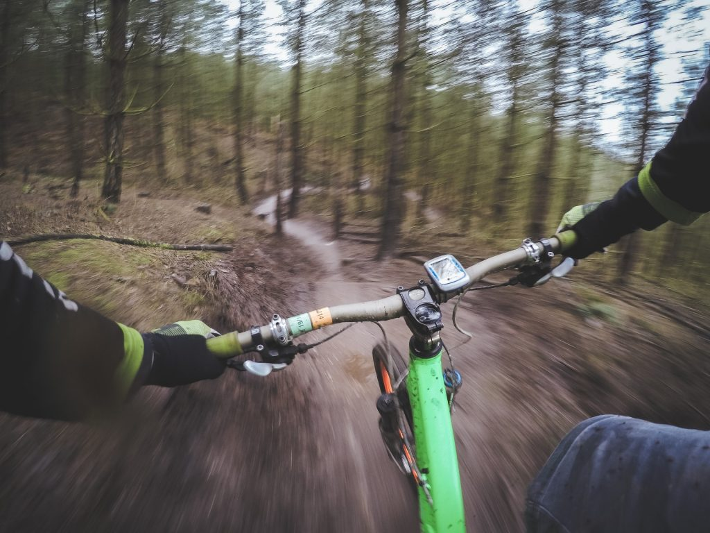 mountain biking, GoPro camera still frame, mountain bike cam